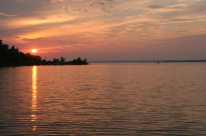 Cottage lake sunset