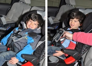 Child in car seat with bulky jacket both photos