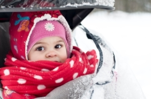 Winter baby in stroller