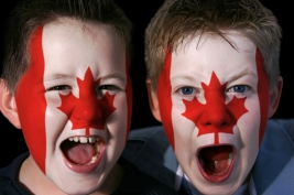 boys with painted flags on face