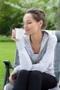 Relaxation with coffee in a garden