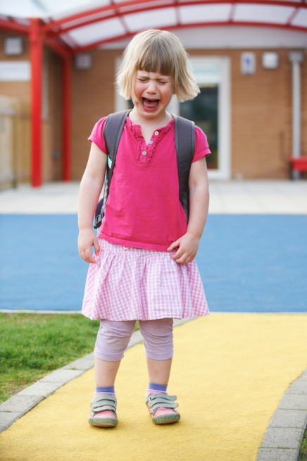 Little Crying Girl Standing Outside School