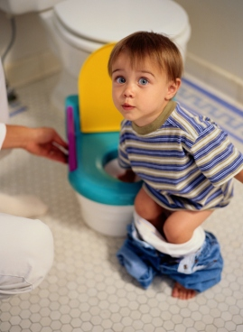Mother Potty Training Her Son