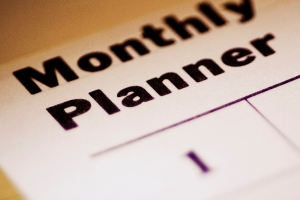Close-up of a monthly planner