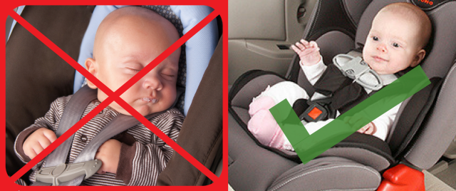 2 pictures of babies in car seats. Picture on the left shows baby incorrectly harnessed with harness loose and chest clips too low. Picture on the right shows baby correctly harnessed.