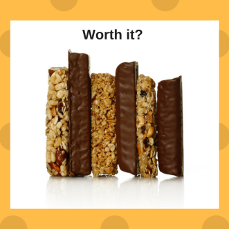 "six different granola bars stacked together, caption says ""worth it?"""