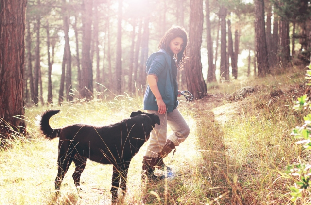 Girl walking with dog in nature.